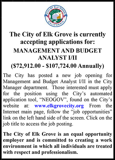 City of Elk Grove Management and Budget Analyst Ad