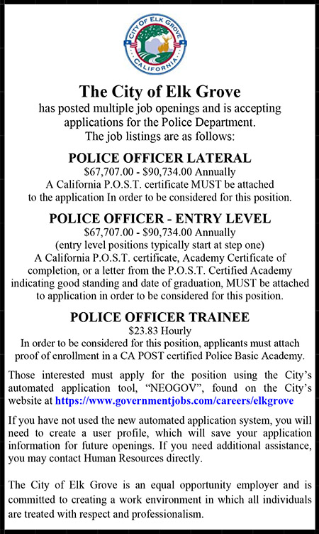 City of Elk Grove Police Positions Ad
