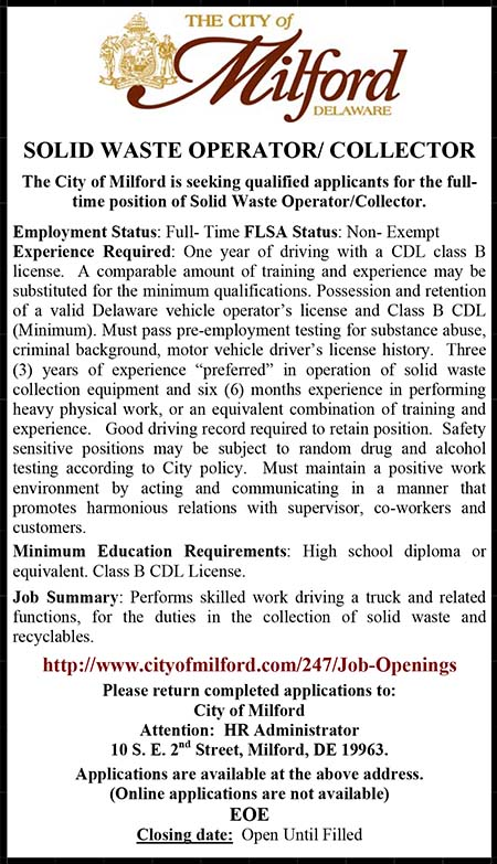 City of Milford DE Solid Waste Operator Ad