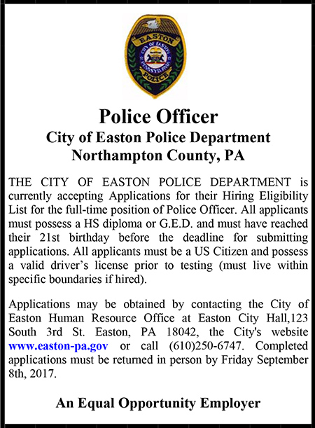 City of Easton Police Department Ad