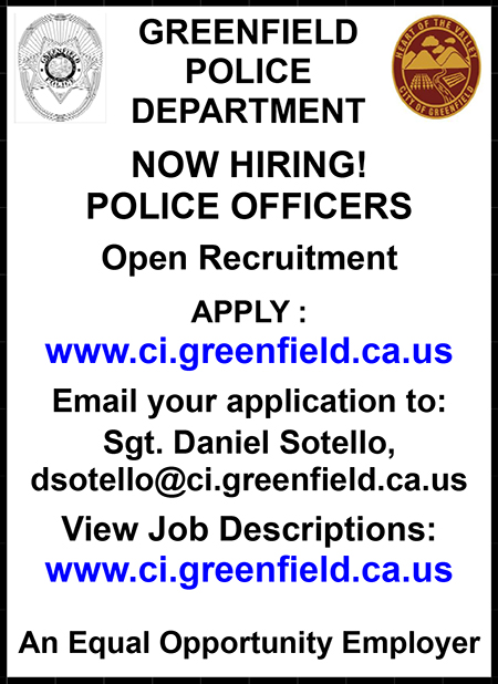 City of Greenfield Police Officer Ad