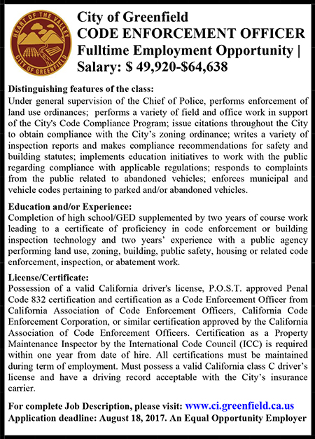 City of Greenfield Code Enforcement Ad