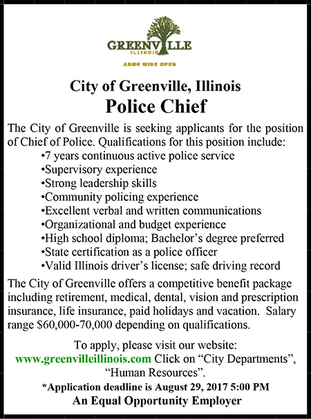 City of Greenville Chief of Police Ad