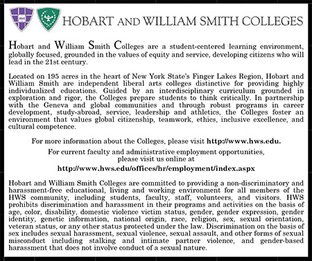 Hobart and William Smith Collegesn Ad