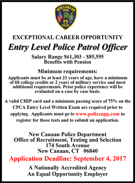 New Canaan Police Entry Level Ad