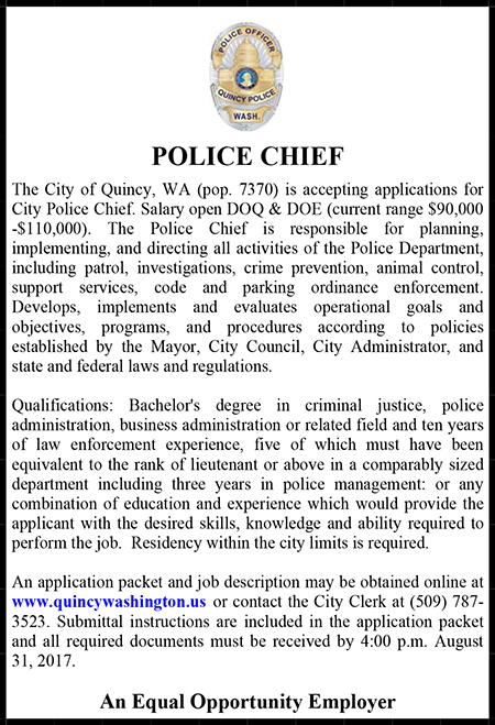 Quincy WA Police Chief Ad
