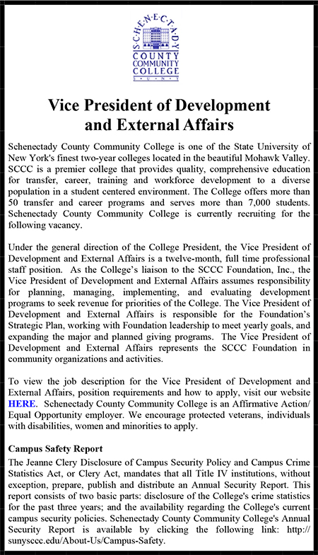 Schenectady County Community College VP Administration