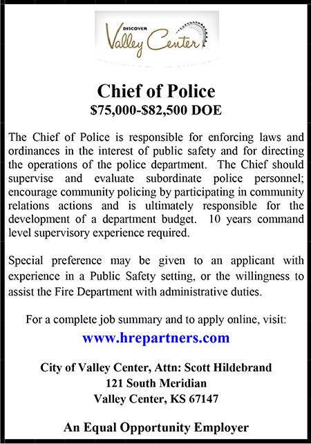 Valley Center Chief of Police Ad